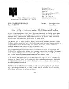 Declaración de las Hermanas de la Misericordia Contra el Ataque Militar de EE.UU. en Irak